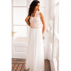 Vestido Novia Gala Encaje Rosa Falda Tul