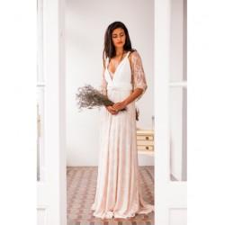 Vestido de Novia Gala con Falda de Encaje Rosa
