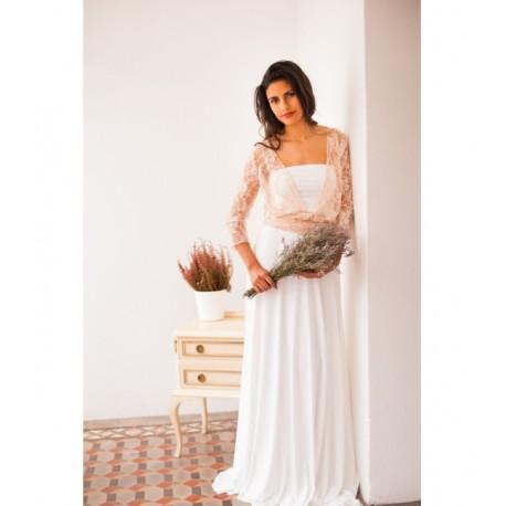 Vestido de Novia Frida Encaje Rosa