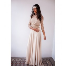 Vestido Frida Beige con encaje